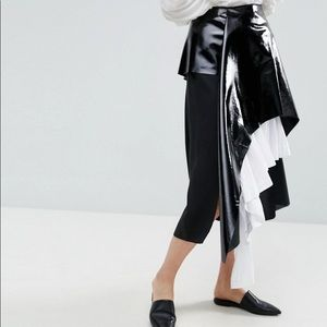 NEW: ASOS WHITE Vinyl Cotton Pleated Layered Skirt